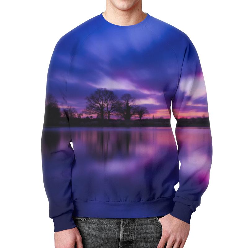 Свитшот унисекс с полной запечаткой Printio Закат над озером покрывало закат над водой сирень покрывало закат над водой