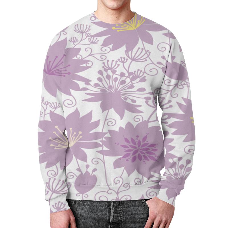 Свитшот мужской с полной запечаткой Printio Фиолетовые цветы