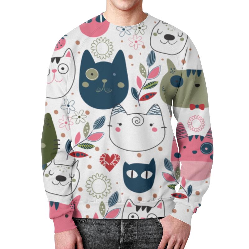 Фото - Свитшот мужской с полной запечаткой Printio Прикольные коты свитшот print bar коты