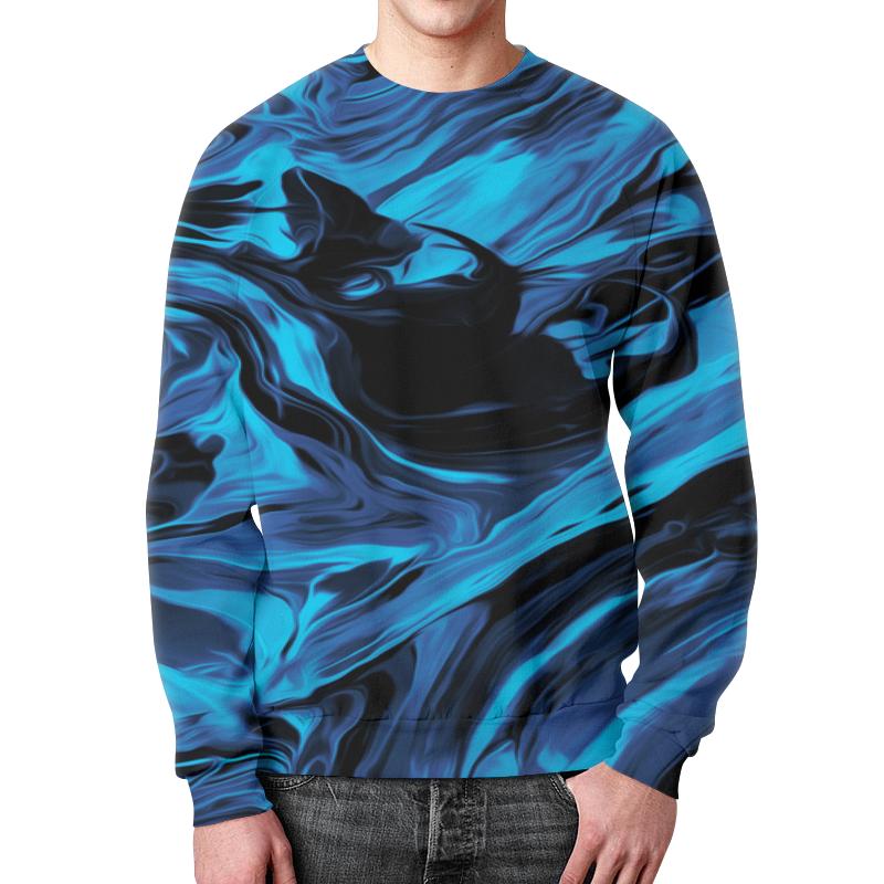 Свитшот унисекс с полной запечаткой Printio Черно-синие краски цена