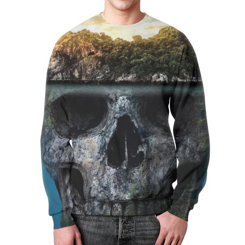"""Свитшот унисекс с полной запечаткой """"MYSTERIOUS ISLAND"""" - череп, пираты, остров, приключения"""