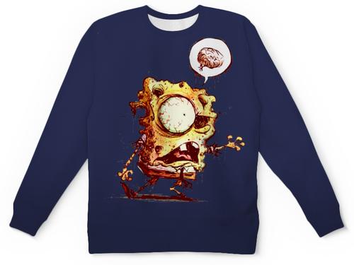 "Свитшот унисекс с полной запечаткой ""Спанч Боб зомби "" - зомби, спанч боб, квадратные штаны, nickelodeon, кто живет на дне океана"