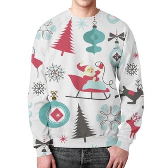 """Свитшот унисекс с полной запечаткой """"Новогодняя"""" - праздник, дед мороз, олени, елочки"""
