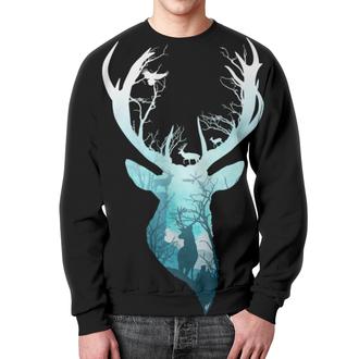 """Свитшот унисекс с полной запечаткой """"Олень в лесу"""" - олень, хипстер, рога, олень в лесу"""