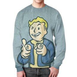 """Свитшот унисекс с полной запечаткой """"Vault Boy (Fallout)"""" - fallout, vault boy, fallout 4"""