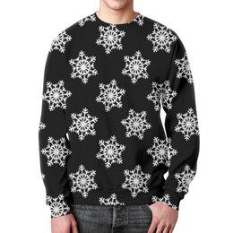 """Свитшот мужской с полной запечаткой """"Снежинки"""" - праздник, новый год, зима, снежинки"""