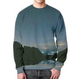 """Свитшот мужской с полной запечаткой """"Вечерний пейзаж"""" - звезды, природа, горы, вода, берег"""