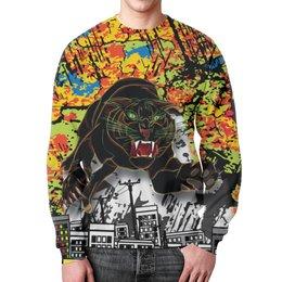 """Свитшот унисекс с полной запечаткой """"Черный Тигр"""" - кот, черный, город, тигр, урбанистический"""