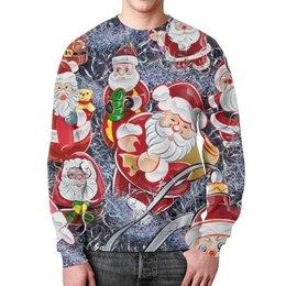 """Свитшот мужской с полной запечаткой """"Новогодняя """" - праздник, зима, дед мороз, санта клаус"""