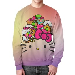 "Свитшот мужской с полной запечаткой ""Hello Kitty"" - кошка, арт, hello kitty, мультфильм, хелло китти"