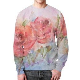 """Свитшот унисекс с полной запечаткой """"Три розы"""" - картина акварелью"""