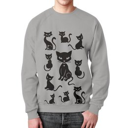 """Свитшот унисекс с полной запечаткой """"Кошки"""" - рисунок, кошки, графика, чёрный кот"""