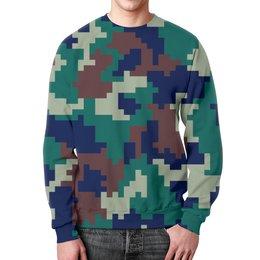 """Свитшот унисекс с полной запечаткой """"Pixel"""" - 23 февраля, армия, камуфляж, пиксели, силовые структуры"""