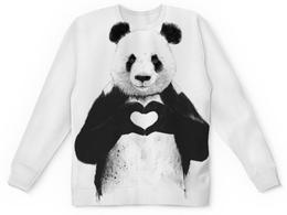 """Свитшот унисекс с полной запечаткой """"Панда"""" - сердце, медведь, панда"""