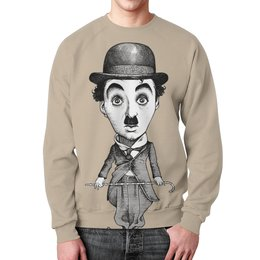 "Свитшот мужской с полной запечаткой ""Charlie Chaplin"" - кино, комик, charlie chaplin, чарли чаплин, актёр"