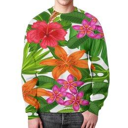 """Свитшот мужской с полной запечаткой """"Тропики"""" - лето, цветы, summer, природа, тропики"""