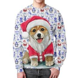 """Свитшот унисекс с полной запечаткой """"Merry Christmas Dog"""" - новый год, зима, дед мороз, снеговик, год собаки"""