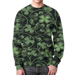 """Свитшот мужской с полной запечаткой """"Клевер"""" - клевер, листья, зеленый, природа, листва"""