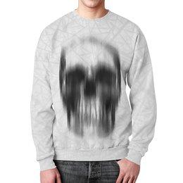 """Свитшот мужской с полной запечаткой """"Skull Design"""" - черепа, скелет, абстракция, иллюзия, эфект"""