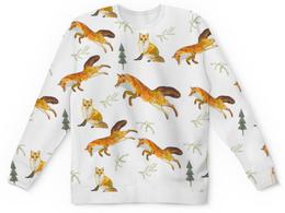"""Свитшот унисекс с полной запечаткой """"лисы в лесу"""" - лес, рыжий, лиса, елки, лисы"""