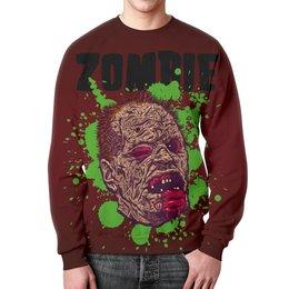 "Свитшот мужской с полной запечаткой ""Зомби арт"" - skull, череп, арт, zombie, зомби"