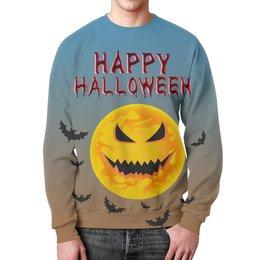 """Свитшот унисекс с полной запечаткой """"Хэллоуин (1)"""" - мистика, ужасы, луна, летучие мыши"""