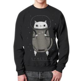 """Свитшот мужской с полной запечаткой """"Space cat"""" - кот, space, cat, космос, cosmic"""