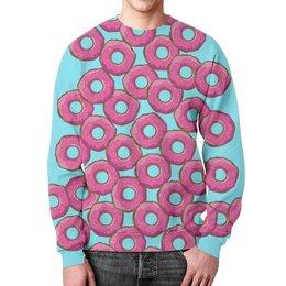 """Свитшот мужской с полной запечаткой """"Пончики"""" - пончики, пончик, donuts, wax, с пончиками"""