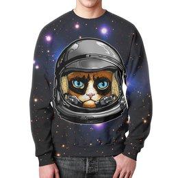 """Свитшот унисекс с полной запечаткой """"Кот в скафандре"""" - кот, космос, вселенная, starcraft, скафандр"""