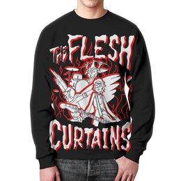 """Свитшот унисекс с полной запечаткой """"Рик и Морти. The Flesh Curtains"""" - рик и морти, рик, птичья личность, сквончи, the flash curtains"""