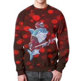 """Свитшот унисекс с полной запечаткой """"Акула"""" - спортсмен, красный, краски, рыба, акула"""