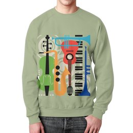 """Свитшот унисекс с полной запечаткой """"Музыкальные инструменты"""" - музыка, гитара, скрипка, инструменты, саксафон"""