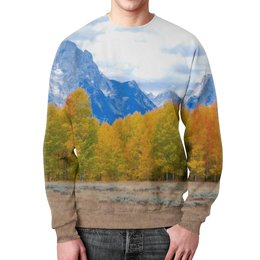 """Свитшот унисекс с полной запечаткой """"Деревья в горах"""" - горы, пейзаж, природа, лес, осень"""