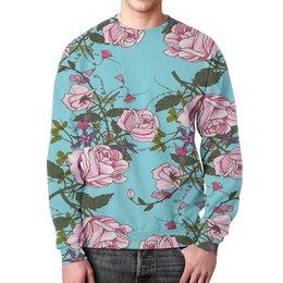 """Свитшот мужской с полной запечаткой """"Розы в цвету"""" - цветы, весна, сад, природа, розы"""