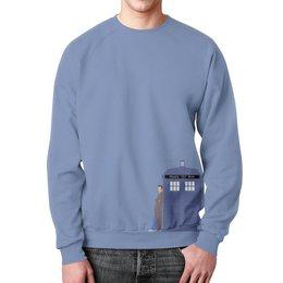 """Свитшот мужской с полной запечаткой """"Доктор Кто и ТАРДИС / Doctor Who & TARDIS"""" - doctor who, tardis, доктор кто, тардис, дэвид теннант"""