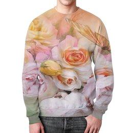 """Свитшот мужской с полной запечаткой """"Пионы"""" - бабочки, цветы, пионы, розы, букет"""