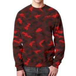 """Свитшот унисекс с полной запечаткой """"Red camouflage"""" - армия, камуфляж, пиксели, силовые структуры"""