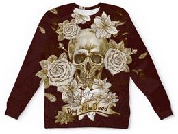 """Свитшот унисекс с полной запечаткой """"Day of the Dead"""" - череп, цветы, рок, кости"""