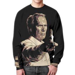 """Свитшот унисекс с полной запечаткой """"Клинтон (Клинт) Иствуд / Clinton (Clint) Eastwood"""" - рисунок, кино, режисер, клинт иствуд"""