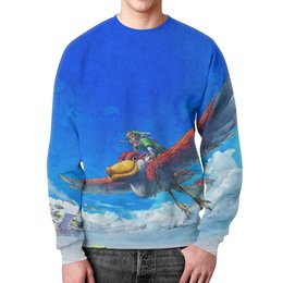 """Свитшот мужской с полной запечаткой """"The Legend of Zelda"""" - эльф, sky, fly, the legend of zelda"""