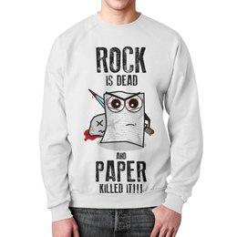"""Свитшот унисекс с полной запечаткой """"Rock is Dead"""" - игры, рок, rock, прикольные, камень ножницы бумага"""