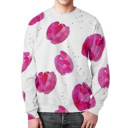 """Свитшот мужской с полной запечаткой """"Акварельные тюльпаны (pink tulips)"""" - цветы, мода, розовый, акварель, тюльпаны"""