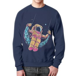 """Свитшот мужской с полной запечаткой """"Лунные качели """" - юмор, пародия, космонавт"""