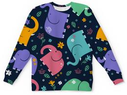 """Свитшот унисекс с полной запечаткой """"Слоники"""" - животные, рисунок, детский, красочный, слоны"""