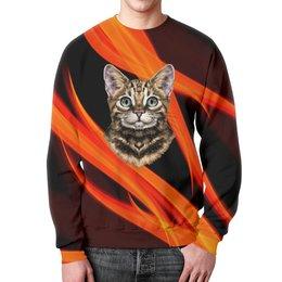 """Свитшот мужской с полной запечаткой """"Без названия"""" - кот, животные, котенок, огонь, пламя"""