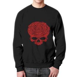 """Свитшот унисекс с полной запечаткой """"Череп"""" - череп, цветы, скелет, роза, розы"""