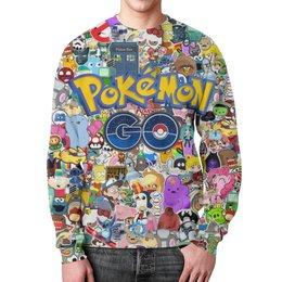 "Свитшот унисекс с полной запечаткой ""POKEMON GO"" - pokemon, покемон, пикачу, pikachu, pokemon go"