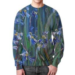 """Свитшот мужской с полной запечаткой """"Танец цветов"""" - весна, лепестки, живопись, оригинальный подарок, синее для девушки"""