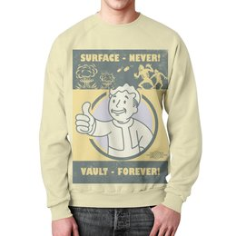 """Свитшот унисекс с полной запечаткой """"Fallout. Vault - forever!"""" - игры, fallout, геймерские, vault, vault-boy"""