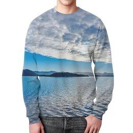 """Свитшот мужской с полной запечаткой """"Остров в море"""" - море, облака, природа, пейзаж, остров"""